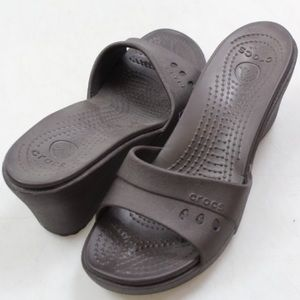 Crocs dark brown wedges size 10